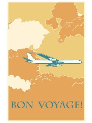 Poster Retro airplane Bon voyage