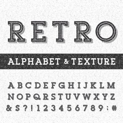 Poster Retro alphabet vector font with distressed overlay texture. Serif type letters, numbers and symbols on a distressed scratched background. Stock vector typography for labels, headlines, posters etc.