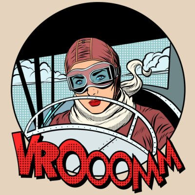 Poster Retro Aviator woman on the plane