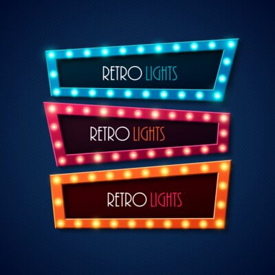 Poster Retro banner with shining lights. Vector illustration.