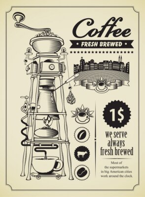 Poster Retro banner with surreal coffee grinder