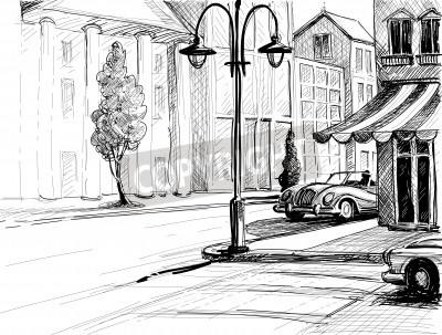 Poster Retro city sketch, street, buildings and old cars vector illustration, pencil on paper style