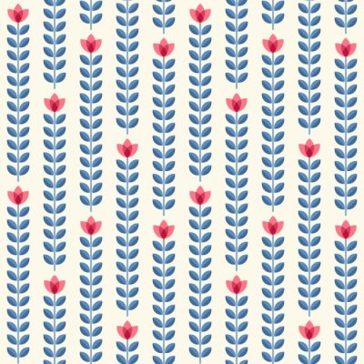 Poster Retro floral pattern, geometric seamless flowers