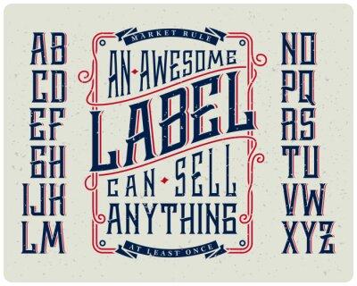 Poster Retro font set with ornament frame for making label design