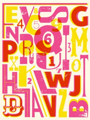 Poster Retro Letters and Numbers