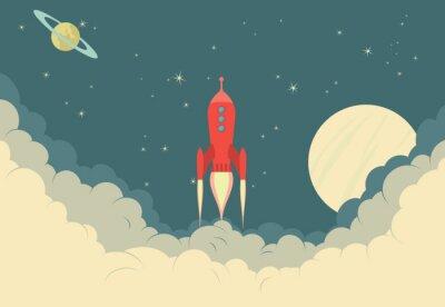 Poster Retro Rocket Spaceship