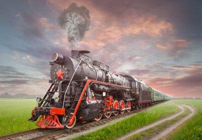 Poster Retro Soviet steam locomotive