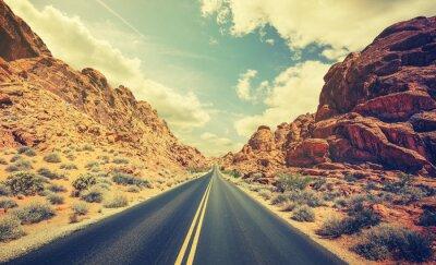 Poster Retro stylized desert highway, travel adventure concept.