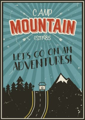 Poster Retro summer or winter holiday poster. Travel and vacation brochure. Camping promo banner. Vintage RV, mountains, trees, arrows vector design concept, elements. Motivational lettering.