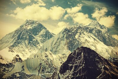 Poster Retro toned picture of Mount Everest, Nepal.