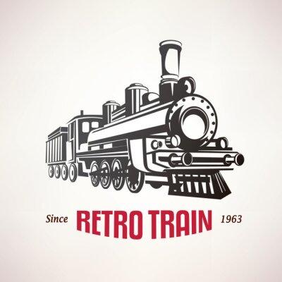 Poster retro train, vintage  vector symbol, emblem, label template