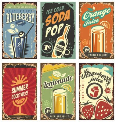 Poster Retro wall decor with juices and drinks set