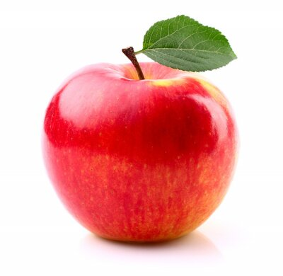 Poster Ripe apple with leaf