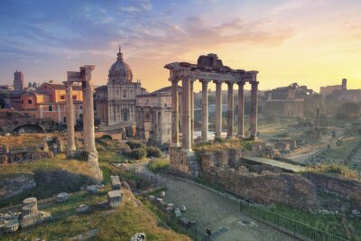 Poster Roman Forum. Image of Roman Forum in Rome, Italy during sunrise.