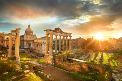 Poster Roman Forum. Ruins of Roman Forum in Rome, Italy during sunrise.