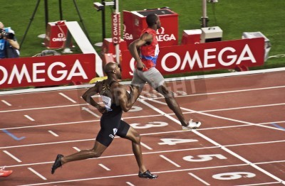 Poster ROME . May 31: Usain Bolt runs and wins 100 m speed race at Golden Gala in the Olympic Stadium on May 31, 2012 in Rome