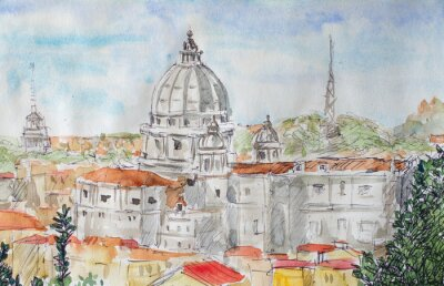 Poster Rome overview watercolor