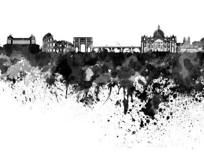 Poster Rome skyline in black watercolor