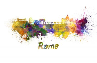 Poster Rome skyline in watercolor