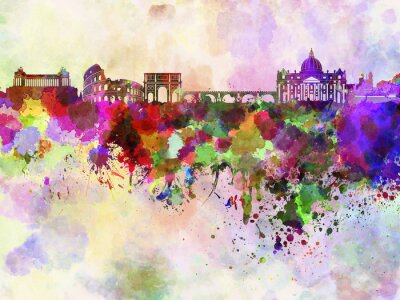 Poster Rome skyline in watercolor background