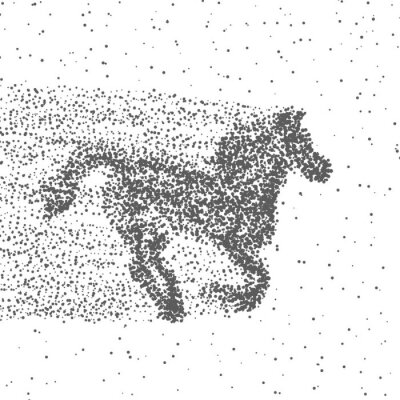 Poster Running Horse Made Of Particles. Dotted Background. Vector