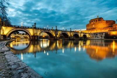 Poster S.Angelo bridge and castle, Rome, Italy