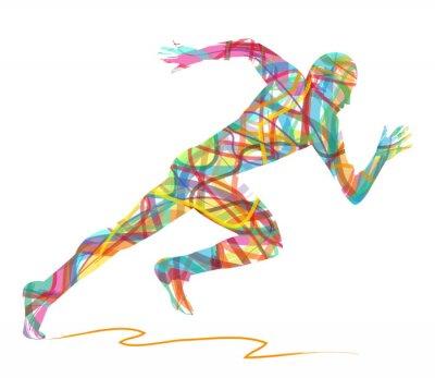 Poster sagoma astratta di uomo che corre
