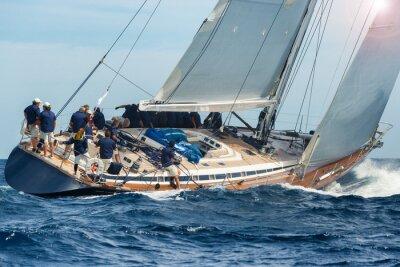 Poster sail boat sailing in regatta