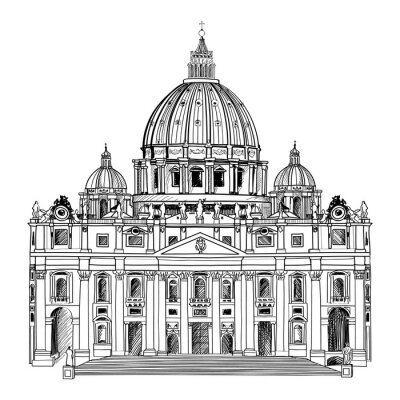 Poster Saint Peter's Cathedral, Rome, Italy.  Vatican architecture.