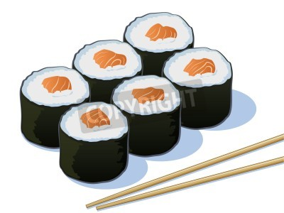 Poster Salmon Sushi Rolls with Chop Sticks