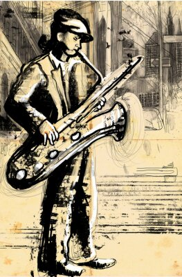 Poster sax player (full sized hand drawing - original)
