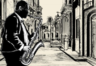 Poster saxophonist in a street of Cuba