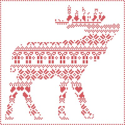 Poster Scandinavian Nordic winter stitching  knitting  christmas pattern in  in reindeer body  shape  including snowflakes, hearts xmas trees christmas presents, snow, stars, decorative ornaments 2