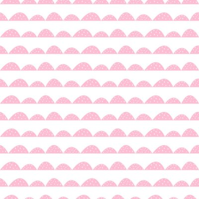 Poster Scandinavian seamless pink pattern in hand drawn style. Stylized hill rows. Wave simple pattern for fabric, textile and baby linen.