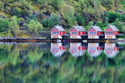 Poster Scenic View of lake and fishing huts in Flam, Norway