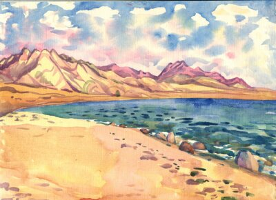 Poster sea and mountains. Landscape. Watercolor painting