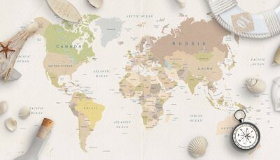 Poster Sea, travel things on world map conposition. Copy space in the middle. Top view, flat lay.