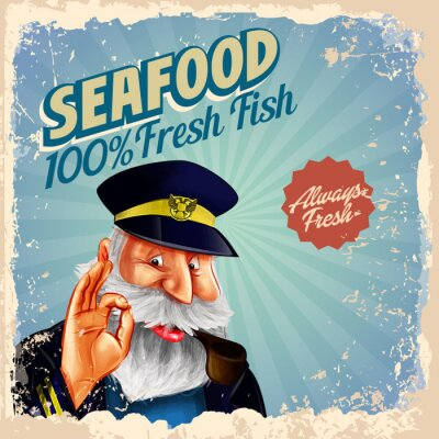 Poster seafood fresh fish captain