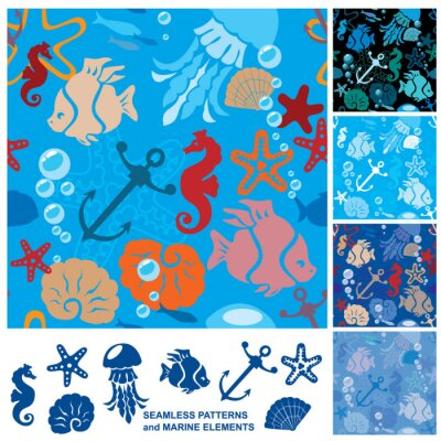 Poster Seamless background with Marine life
