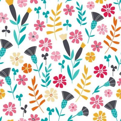 Poster Seamless bright scandinavian floral pattern