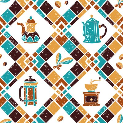 Poster Seamless pattern Argyle and Coffeemakers