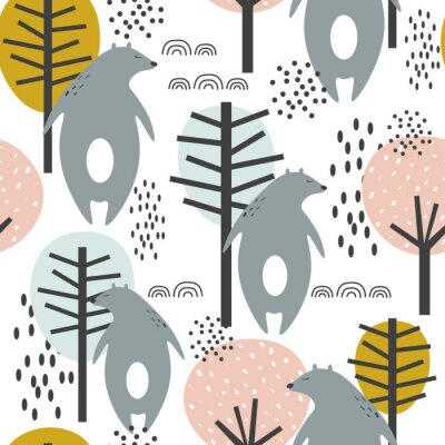 Poster Seamless pattern, bears and trees, hand drawn overlapping backdrop. Colorful background vector. Illustration with animals. Decorative wallpaper, good for printing