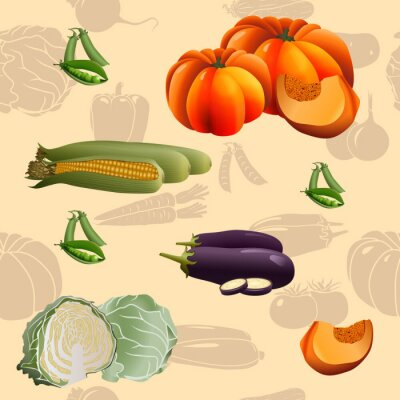 Poster seamless pattern vegetables: corn, pumpkin