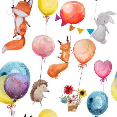 Poster seamless pattern with animals with balloons