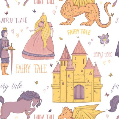 Poster Seamless pattern with prince, princess, castle, dragon, fairy, horse. Fairy tale theme. Isolated objects. Vintage vector illustration