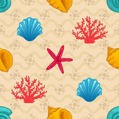 Poster Seamless pattern with seashell