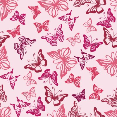 Poster Seamless  pattern with silhouettes of  butterflies