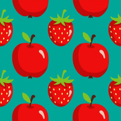 Poster Seamless pattern with strawberries and apples