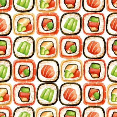 Poster Seamless pattern with sushi rolls
