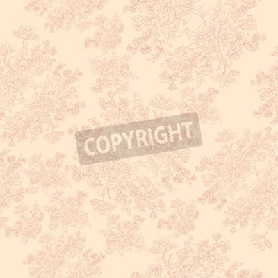 Poster seamless retro pattern with rococo flowers, shabby chic motif